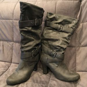 Gray Leather Slouchy Boots with Decorative Buckles